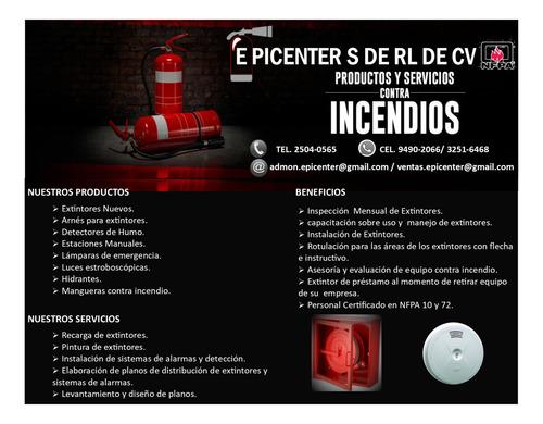 epicenter, extintores y alarmas contra incendios.