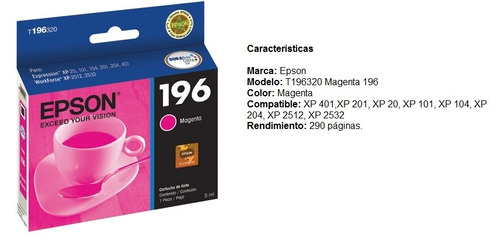 epson cartucho magenta 196 para xp-101/201/401/workfo