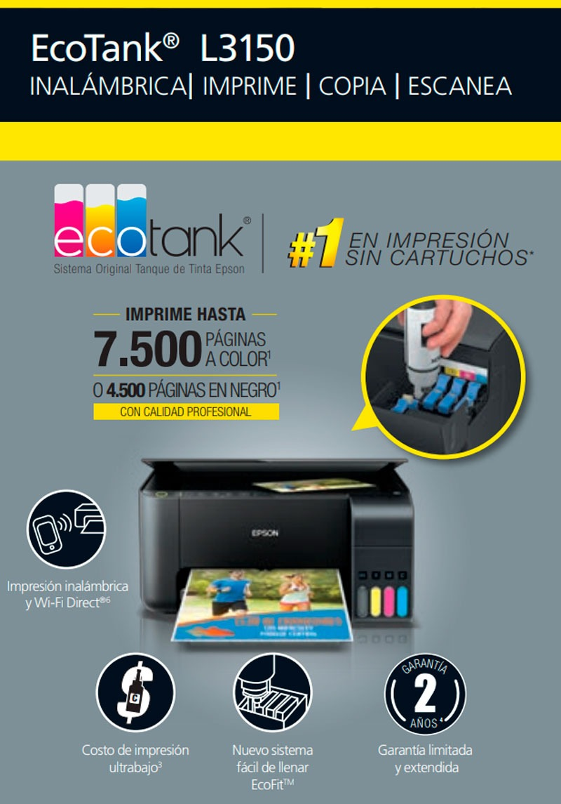 Epson® Ecotank L3150 Multifuncional Wifi-direct