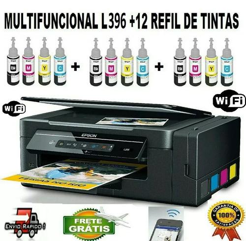 epson l-396 + 12 refil tintas + frete gratis + brinde