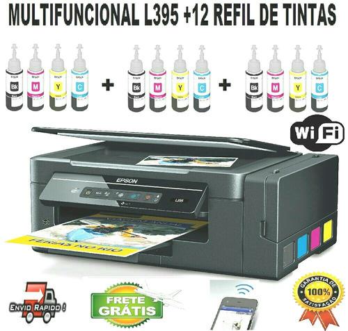 epson l395 + 12 tintas sublimaticas frete grátis + garantia