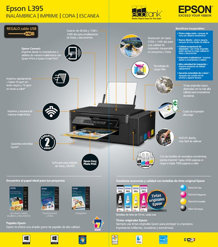epson l395-l4150 impresora sistema original incluye iva wifi