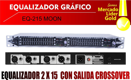 equalizador gráfico moon eq 215 2 x 15 bandas stereo