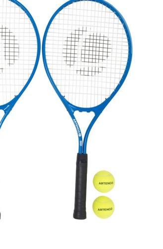 equipo 2 raquetas de tenis tr700 azul rojo