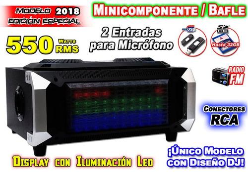 equipo de audio 550w panel iluminado conecta usb y sd xaris.