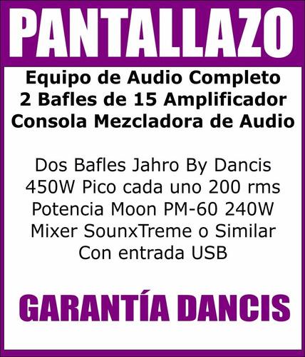 equipo de audio completo dj 2 bafles 15  ampli + consola usb