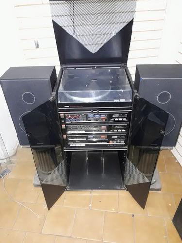equipo de audio en modulos sanyo con bandeja tocadisco