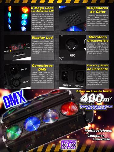 equipo de iluminación audiobahn spider 8 mega leds rgb mas w
