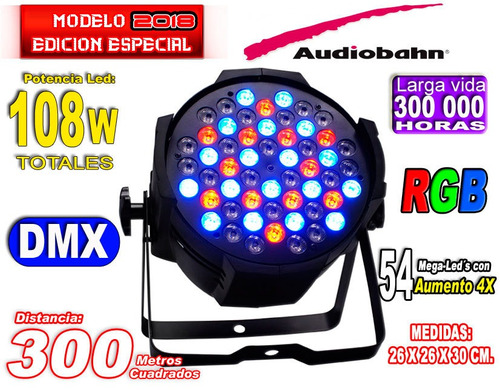 equipo de iluminación rgb y w par 54 mega leds audiobahn wow