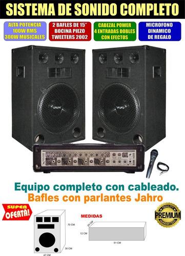 equipo de música amplific + 2 bafles de 15 jahro  micrófono