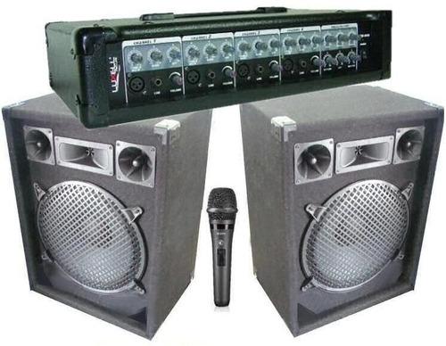 equipo de música cabezal + 2 bafles + microfono envio gratis