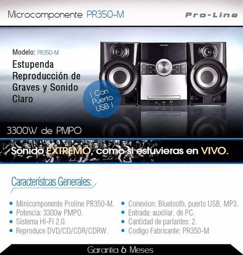 equipo de música minicomponente proline pr350-m, 3300 watts