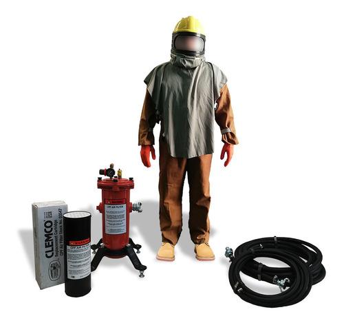 equipo de protección para trabajos con olla de sand blast