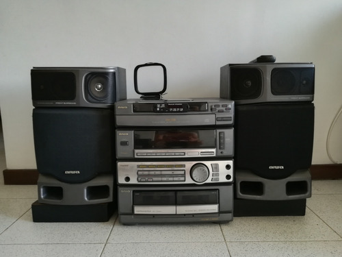 equipo de sonido aiwa con bluetooth, mp3, usb, cd y casetera