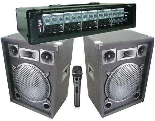 equipo de sonido cabezal + 2 parlantes + mic by dancis