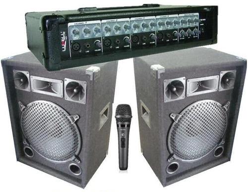 equipo de sonido completo amplif + 2 bafles + mic de regalo