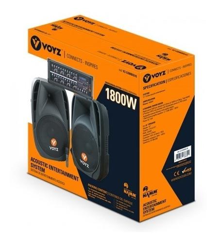 equipo de sonido voyz dos bocinas de 15 y power mixer de 8