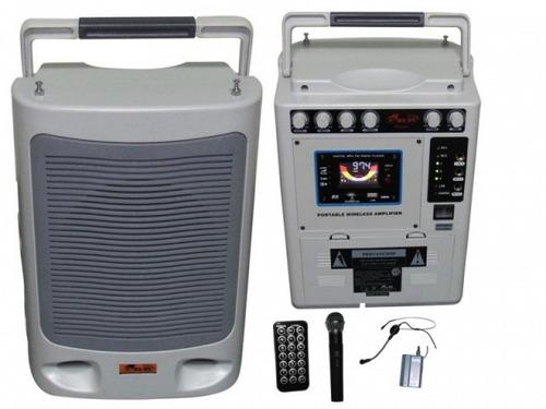 equipo portatil 2 mic inalámbricos bafle ppg-460 gbr sonido