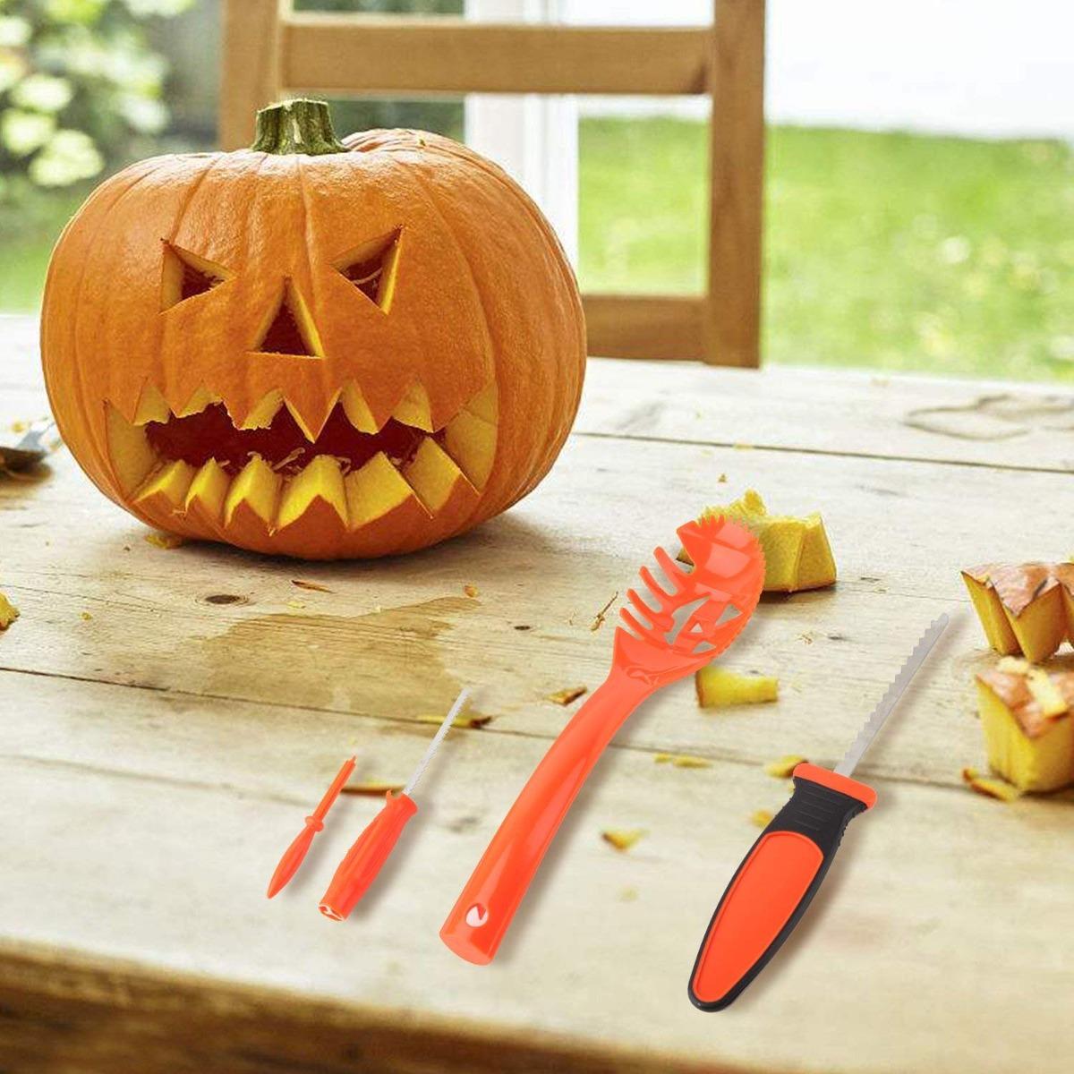Equipo Tallado Calabaza De Halloween Niños Merrymore 4 Cala ...