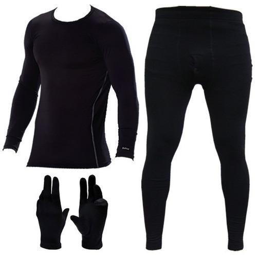 equipo termico primera piel remera + calza + guantes frio