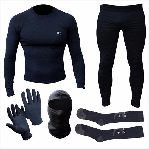 equipo termico remera + calza + guantes + balaclava + medias