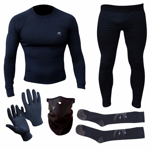 equipo termico remera+calza+guantes+balaclava+medias oslo