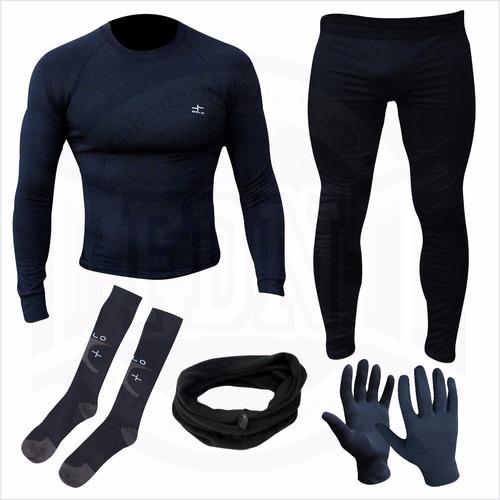 equipo termico remera + calza + guantes + media +cuello oslo