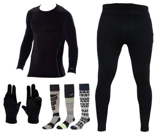 equipo termico remera + calza + medias + guantes frio