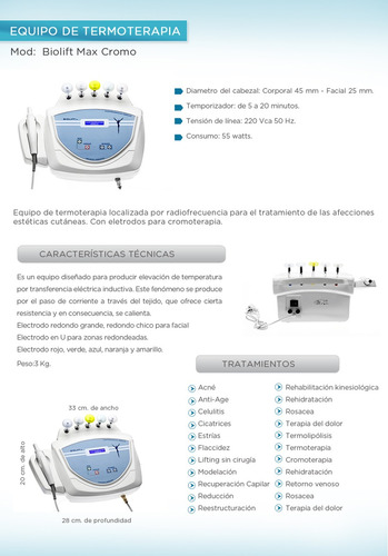 equipo termoterapia morales cromoterapia radiofrecuencia