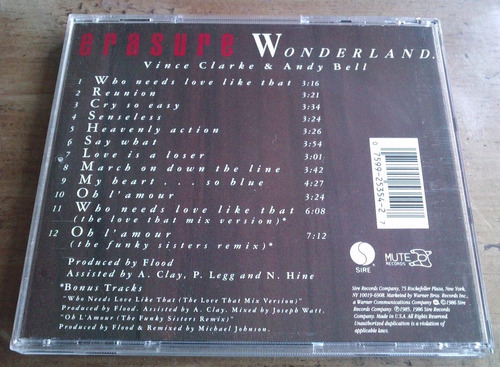 erasure wonderland  cd made in usa  1a ed 1986. mmu