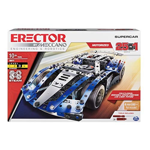 erector de meccano supercar 25-in-1 model vehicle building