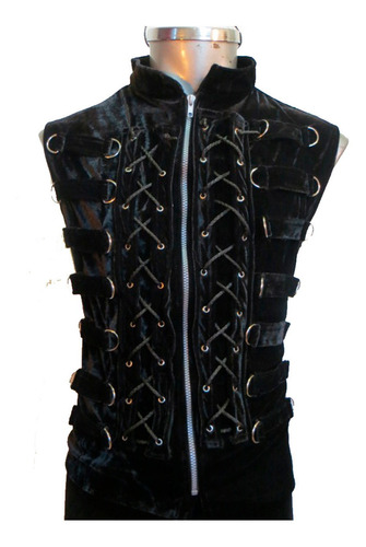 eretica ropa dark-chaleco 14 argollas terciopelo-rock-gotico