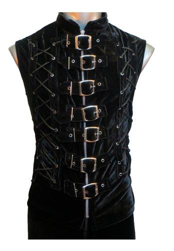 eretica ropa dark-chaleco 7 hebillas terciopelo-rock-gotico
