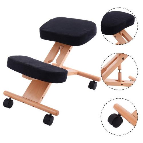 ergonómicas rodillas silla madera móvil ajustable acolchado