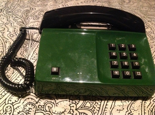 ericsson teléfono alámbrico años 80's verde-negro impecable