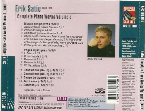 erik satie - complete piano works vol. 3 - bojan gorisek