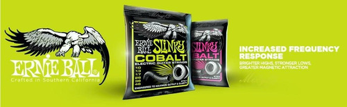 ernie ball cobalt 0.09 electric guitar strings set usa + púa