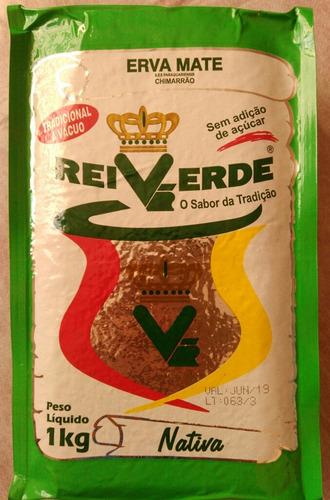 erva mate chimarrão rei verde tradicional a vácuo  5 pacotes