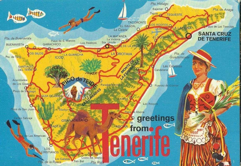 mapa de espanha tenerife Es 1236   Postal Mapa De Tenerife, Espanha   R$ 12,00 em Mercado Livre mapa de espanha tenerife