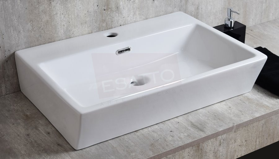 Esatto lavabo rectangular ba o moderno cer mico oc 081 for Lavabo rectangular