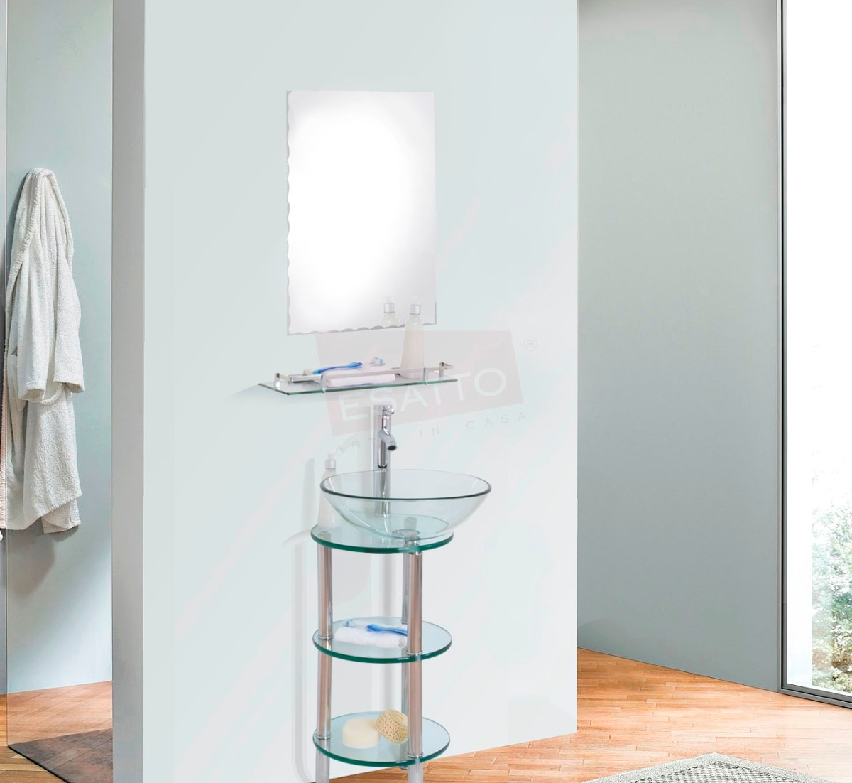 Esatto mueble ba o lavabo cristal espejo repisa mv 002 for Lavabo vidrio