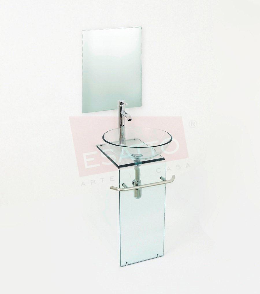 Esatto mueble de ba o cristal templado con espejo mv 011 3 en mercado libre - Lavabos de vidrio ...