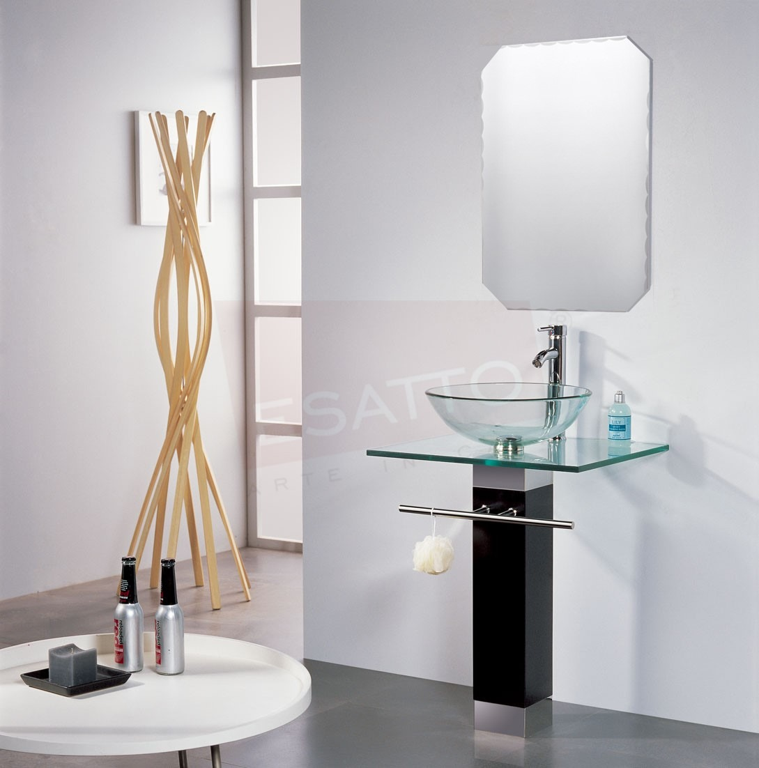 Esatto mueble de ba o lavabo cristal cromo espejo mv 003 for Mueble lavabo moderno