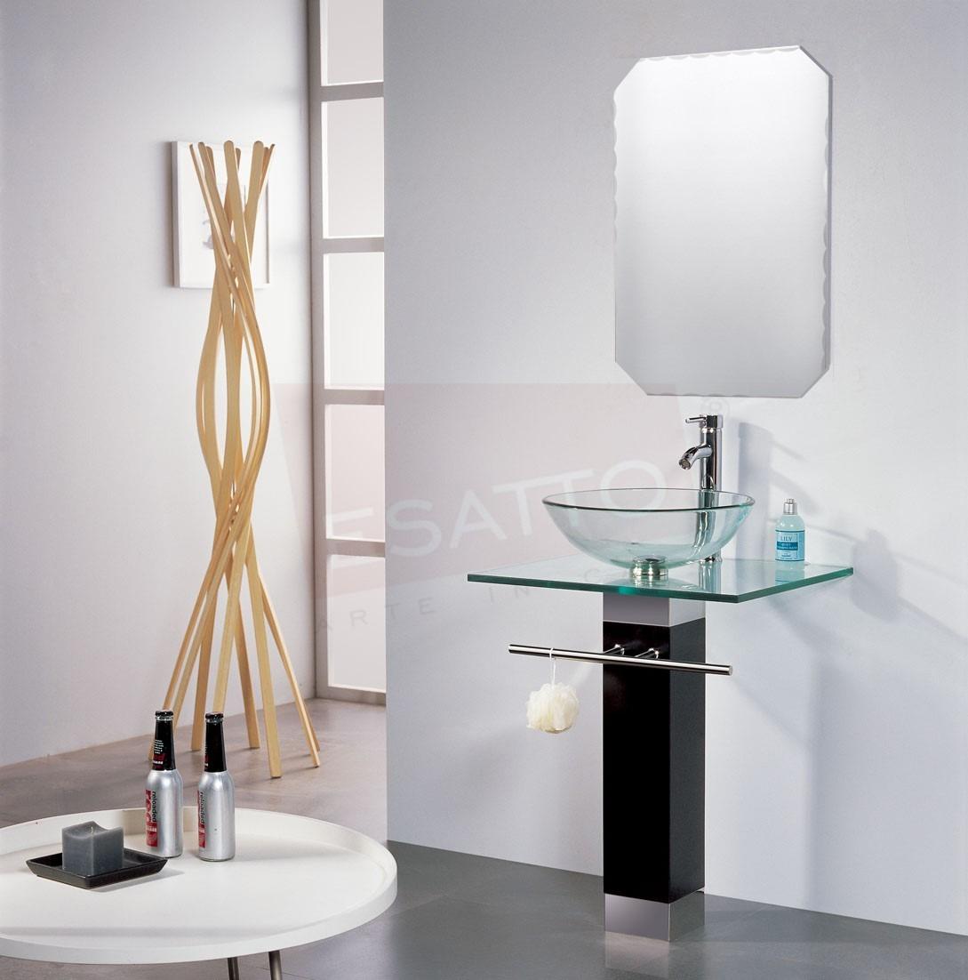 Esatto mueble de ba o lavabo cristal cromo espejo mv 003 for Muebles de bano de 70
