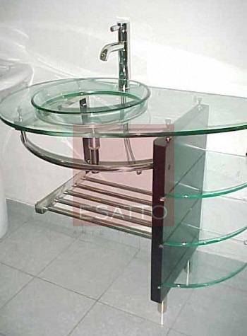 Esatto mueble de ba o lavabo cristal cromo mv 005 for Lavabo vidrio