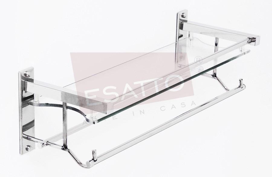 Esatto Repisa Doble Colgador Vidrio Cristal Cromo Ac