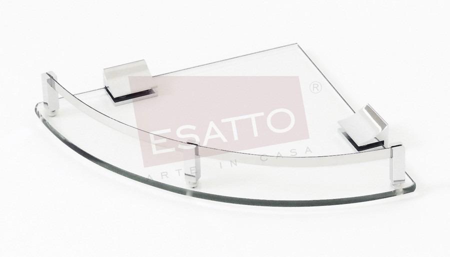 Esatto repisa esquinera vidrio cristal cromo ac 031 for Banos con repisas de vidrio
