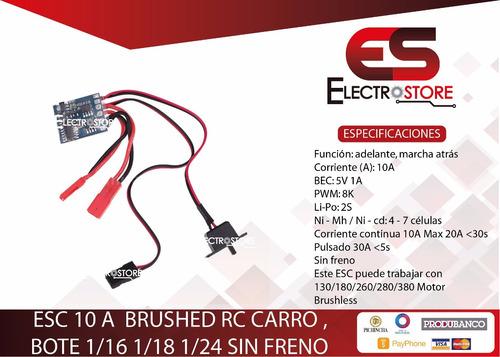esc 10a brushed controlador velocidad 1/16 1/18 1/24 carro