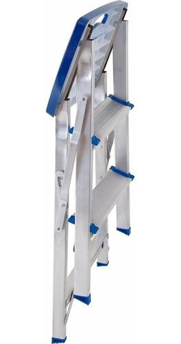 escada 3 degraus alumínio banqueta até 120 kg - mor