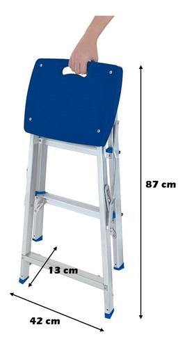 escada 3 degraus alumínio banqueta p/ até 120 kg - mor